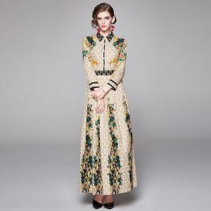 2019 autumn winter Fashion Runway Dress Women's Long Sleeve Turn-down Collar Elegant geometric Print Slim long Vintage Dress