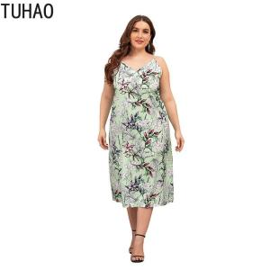 TUHAO Large Size Mother Mom Bohemian Dresses Plus Size Women's Casual Dress Green Bottom Printing Dresses Clothing summer WM09