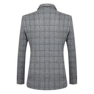 FGKKS Brand Men Blazers Lined Print Men's Business Casual High Quality Wild Suit Fashion Slim Fit Lattice Blazers Coat Male
