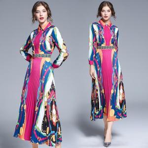New Fashion Style Printed Pleated Midi Vintage Dress Zomerjurk Dames 2021 Women Retro Runway Party Dames Jurken K6848