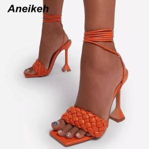 Aneikeh Sexy PU Cross-Tied Sandales Summer 2021 NEW Peep Toe High Heel Solid Fashion Slip On Slides Ladies Gladiator Party Shoes