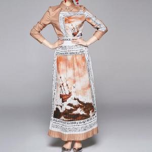 Spring New Woman Vintage 2pcs Suit Turn-down Collar Blouse Pleated Long Skirt Set Suit for Woman Ladies Party Suit Sets