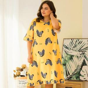 DOIB Large Size Sleepwear Yellow Zebra Print Nightwear Women Oversize Size Nightgown Loose Plus Size Homewear Dress