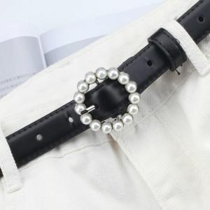 Leather Belt Women's Fashion Wild Solid Color Belt Alloy Square Buckle Inlaid Pearl Decoration Hot Sweet Style Wild Student Belt