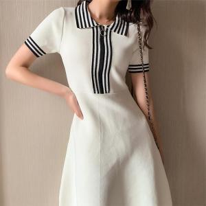 Luxury Brand Designer Cotton Summer Women Sweater Dress POLO Zipper 2020 New Fashion OL Ladies Knee-Length Dress Elegant Clothes