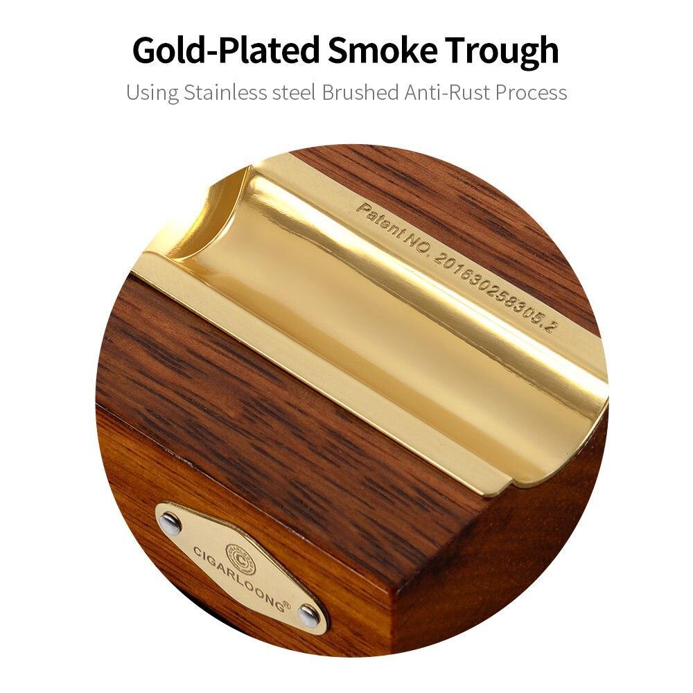 CIGARLOONG Cigar Gold Plated Smoke Ashtray Tank Cedar Wood Smoke Detector Wood Metal Cigar Ashtray CLG-0393
