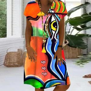 Summer New Casual Short Sleeve Loose Dresses 2020 Retro Print V Neck Women Party Dress Elegant Female A-Line Dress Vestidos 5XL