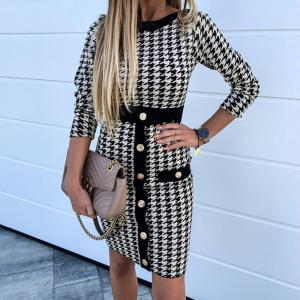 DUUTI Women Sexy Long Sleeve Dress Print Contrast Tight-fitting Houndstooth Mid-Length Dress Party Plaid Dress With Buttons D25
