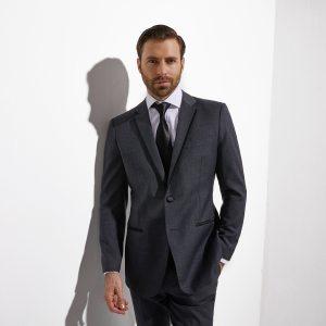 2020 Middle Grey Wedding Tuxedo For Men Custom Made Slim Fit Gray Groom Tuxedo Evening Tailored Latest Wedding Suits For Men
