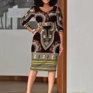 African Ladies Dresses Elegant Wrist High Waist V Neck Vintage For Work Office Business Fashion Slim Vestidos Dress Midi 2020