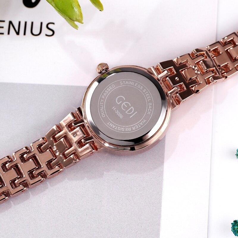 reloj mujer GEDI Brand Fashion Elegant Rhinestone Quartz Wristwatch Ladies Gold Diamond Women Watches Stainless Steel Clock gift