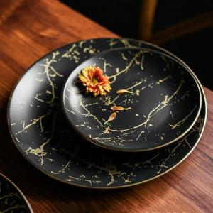 Marble Ceramic Plate Round Dishes Nordic Style Household Dinnerware Steak Dish Pizza Plate Cake Dessert Plate Black