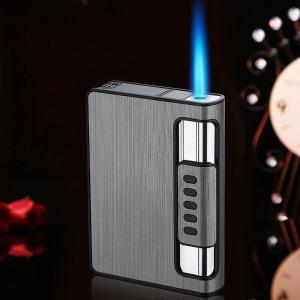 10 Pcs Cigarette Case Cigarette Box Automatic Gas Lighter Turbo Torch Lighter Capacity Can Mount Lighter Metal For Men Smoking
