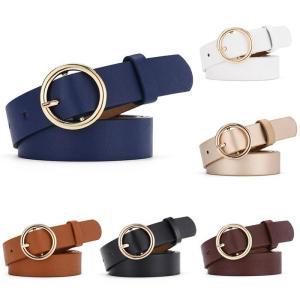 1pcs Unisex round buckle trouser belt Fashion Casual Leather Waistband Lady Belt Vintage belts