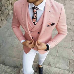 TPSAADE Men Pink Tuxedo Suits For Prom White Pants Wedding Suits Set 3 Pieces Single Breasted Blazer (Jacket+Pants+Vest)