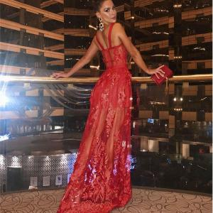 High-Quality Red Lace Sleeveless Hollow Out Long Bandage Dress Women Spaghetti Strap Embroidery Sexy NightClub Lace Maxi Dress
