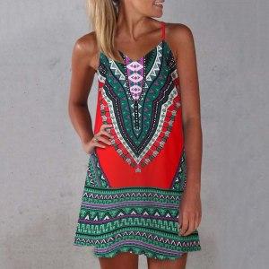 Vintage Casual Sundress Female Beach Boho Dress Mini Sexy Backless Plus Size Women Dress 2020 Summer Print Sleeveless Dresses