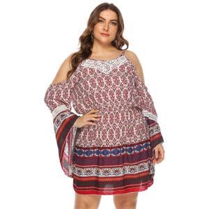 Off Shoulder Dress Women Summer Flare Long Sleeve Retro Printing Vintage Boho Beach Dresses Ladies Tunic Short Mini Dresses