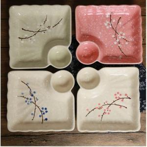 Japanese Style Plum Blossom Hand Painted Creative Home Ceramic Tableware Sauce Dumpling Grid Plate Restaurant Dim Sum Dish Plate