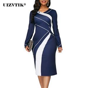 Autumn Winter Dress Women 2019 Casual Plus Size Slim Office Pencil Dresses Elegant Sexy V Neck Geometric Print Long Party Dress