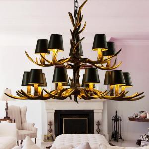 Black White Lampshade Antler Resin Chandelier Lamp Vintage Rustic Hanging Lamp for Restaurant Living Room Decoration