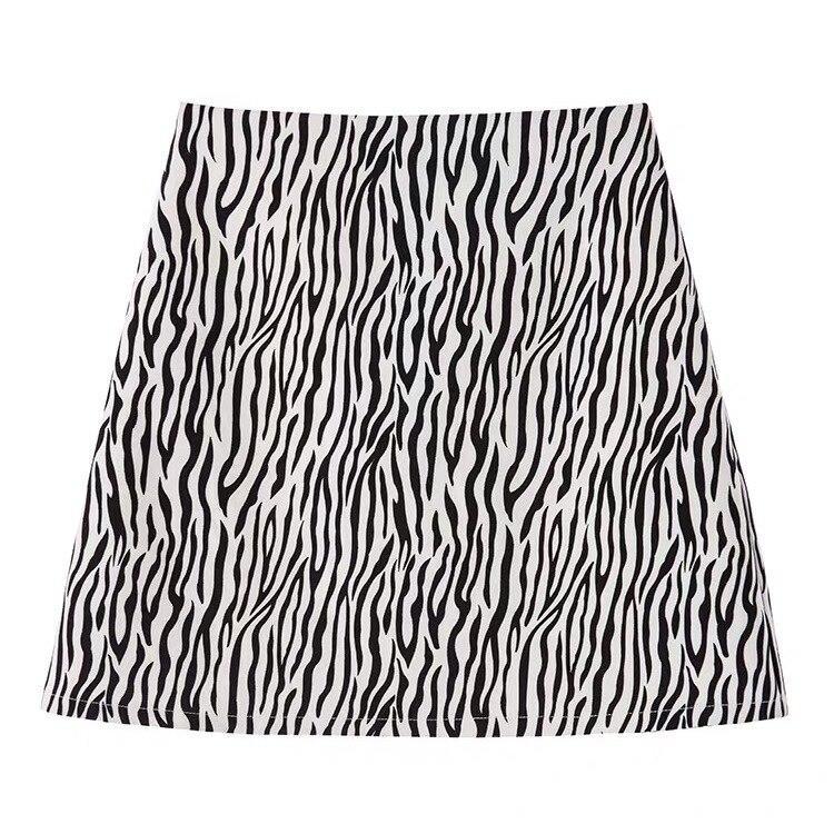 Skirts Women Zebra Pattern Print Above Knee Ins Spring Empire All-match Casual Feminino Aesthetic Popular Oversized Ulzzang Chic
