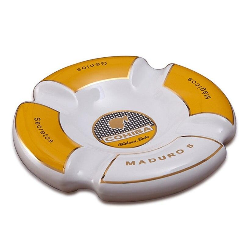 Cohiba High-definition Bone China Ceramic Round Cigar Ashtray For Home Middle Size 4 Holder Smoking Ash Tray Cigars Accessories