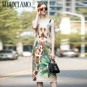 MIUXIMAO High Quality 2020 Spring  Dress Newest Fashion Sleeveless Butterfly Giraffe Print Tassels Elegant Dress Women Vestidos