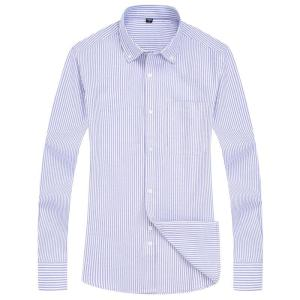 Men's Striped Oxford Spinning Casual Long Sleeve Shirt Blue Comfortable breathable Collar Button Design 2020 Spring Autumn New