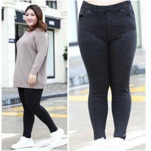 Oversize Women Jeans New Autumn Trousers High-waist Elasticity leggings Plus Velvet Warm Winter Denim Pants Female Plus Size 7XL