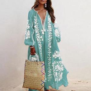 Loose Fit Long Sleeve Flower Dress Tassel V Neck Beach Sundress Fashion Lace-up Tassel Causal Long Dress Women Autumn Dresses