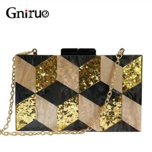 New Female Black Pearlescent Acrylic Evening Bags Vintage Women Messenger Bags Gold Sequins Clutches Patchwork Party Handbags