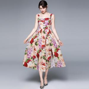 Banulin 2021 Fashion Runway Summer Dress Women's Beading Buttons Spaghetti Strap Gorgeous Floral Print Midi Dress vestidos