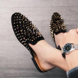 Fashion Summer Men's Suede Leather Open Back Slip-On Dress Slippers On Backless Loafers Half Shoe for Men Mules Slides Plus Size
