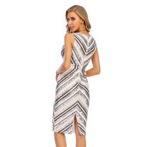 Sexy vintage office Sequins summer Dress women Elegant stripe club outfits woman dress wrap bodycon party dresses vestidos 2020