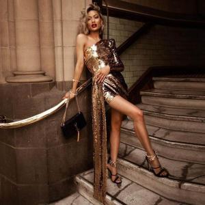 Gold Sequins Mini Dress Women Bodycon Bandage Evening Party One Shoulder Irregular Dress Vestidos 2021 Spring