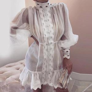 Paris Girl Bodycon Dress Female Lantern Long Sleeve High Waist Hollow Out Ruffle Hem Shirt Dresses Women Autumn Fashion