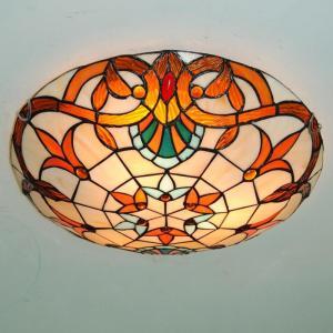 Baroque Tiffany Mediterranean style glass Ceiling Light  Pastoral Round Glass Lampshade lamparas de techo abajur 110-240V E27