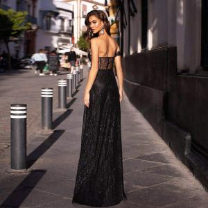 One sleeve strapless long ball gown split leg hollow out padded black glittered party maxi dress