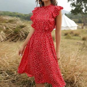 2021 New Summer Dot Print Dress Women Casual Butterfly Sleeve Ruffles Medium Long Chiffon Dress