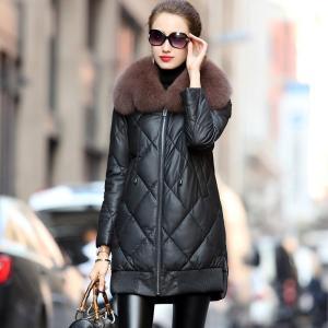 Winter Real Leather Fox Fur Collar Down Jacket Women Clothes 2020 Sheepskin Coat Chaqueta Mujer 712048