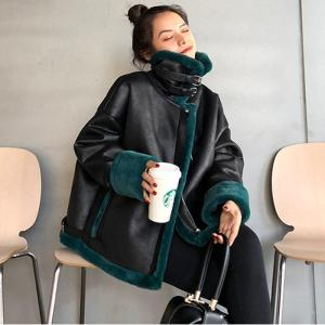 Women 2020 Winter Fashion Genuine Leather Jacket Natural Lamb Fur Collar Liner Coat Female Casual Warm Motorcycle Outerwear T139