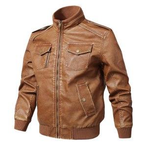 Vintage Brown Man Jacket Nice Men Autumn Winter Fashion Zipper Pure Color Imitation Leather Coat Bomber Jaqueta Masculino