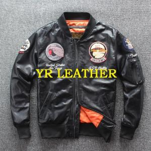 YR!Free shipping.2019 sales.Man genuine leather motor jacket.Indian style sheepskin coat.plus size leather coat.air force MA-1