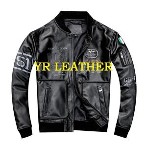 YR!Free shipping.2019 sales.Mens genuine leather motor jacket.flight style sheepskin coat.plus size leather coat.classic MA-1