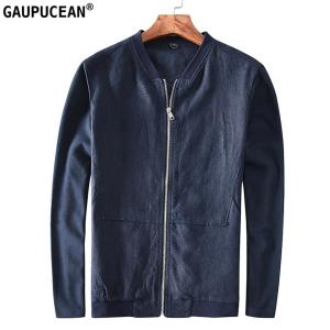 100% Linen Breathable Anti-static Anti-radiation Thin Man Outwear Summer Spring Casual Zipper Navy Blue Male Black Men Jacket
