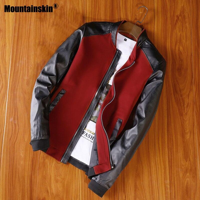 Mountainskin New Jacket Men's PU Patchwork Jackets Spring Autumn Faux Leather Coat Slim Fit Fashion Male Motorcycle Coats SA678
