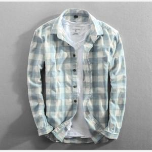 2019 Spring And Autumn Vintage China Style Classic Plaid Cotton Long Sleeve Blue Shirt Male Casual Slim Fit Shirt Import Clothes