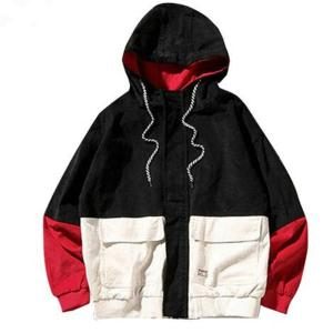 2018Spring Color Block Patchwork Corduroy Hooded Jackets Men Hip Hop Hoodies Coats Male Casual Streetwear Outerwear
