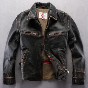 2018 men's slim fit turn-down collar vintage cowhide genuine leather jacket punk motorcycle jacket men casual real leather coat